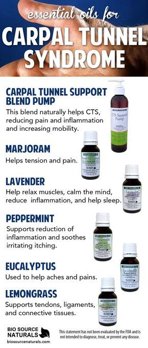 Essential oils for carpal tunnel can provide temporary relief of pain and inflammation. Carpal Tunnel is a painful syndrome that can be helped by using essential oils. Essential oils are helpful to reduce the symptoms of itching, aching, numbness, and pain.* *This statement has not been evaluated by the FDA and is not intended to diagnose, treat, or prevent any disease. #aromatherapy