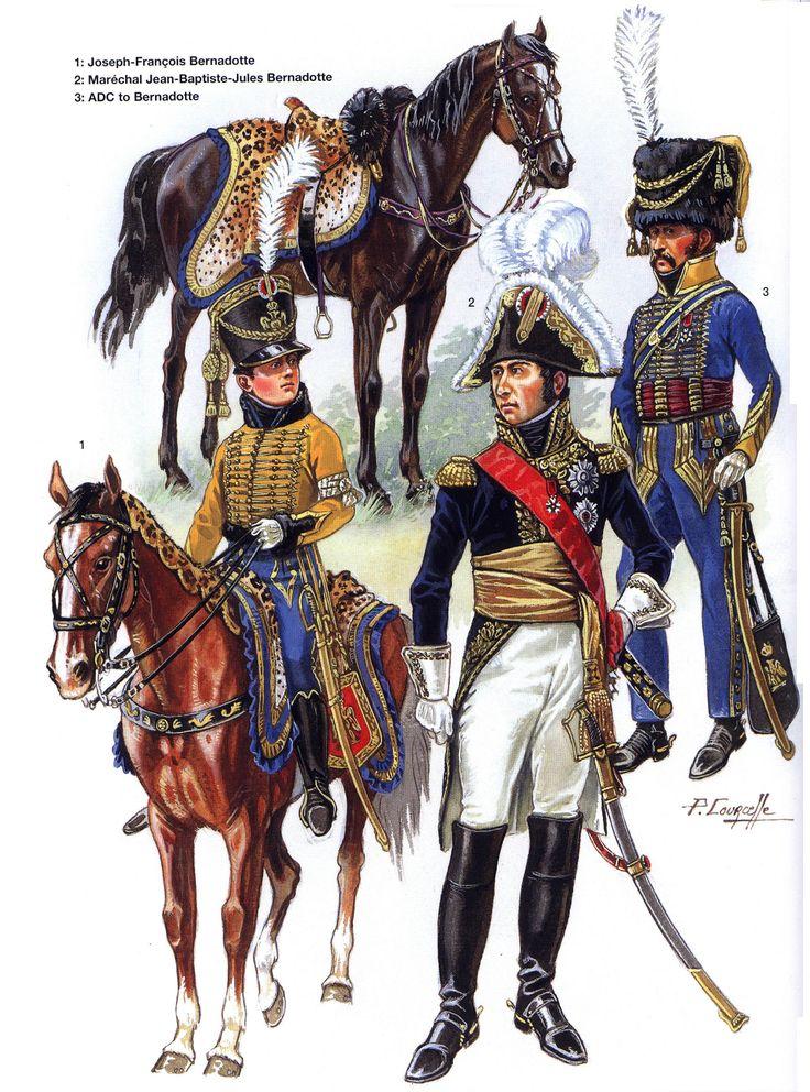 Joseph François Bernadotte, maresciallo Jean Baptiste Bernadotte e un aiutante di campo del maresciallo Bernadotte