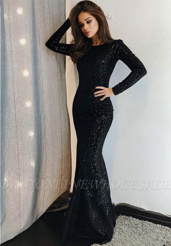 Sexy Mermaid Black Sequins Long-Sleeve Prom Dresses  154836288abe