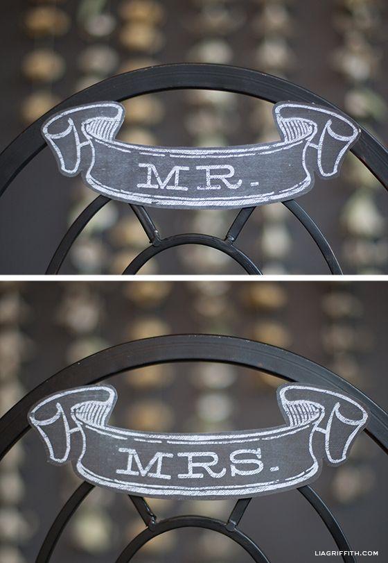 Mr. and Mrs. Chalkboard Wedding Banner - Downloaded