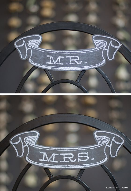 Printable Mr & Mrs Banners in Chalkboard Style