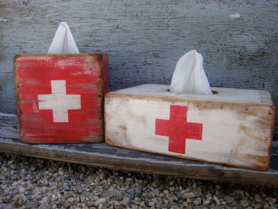 FREE SHIP Rustic Distressed Vintage Inspired Red Cross First Aid Wood Tissue Box Holder by TheUnpolishedBarn, $44.99