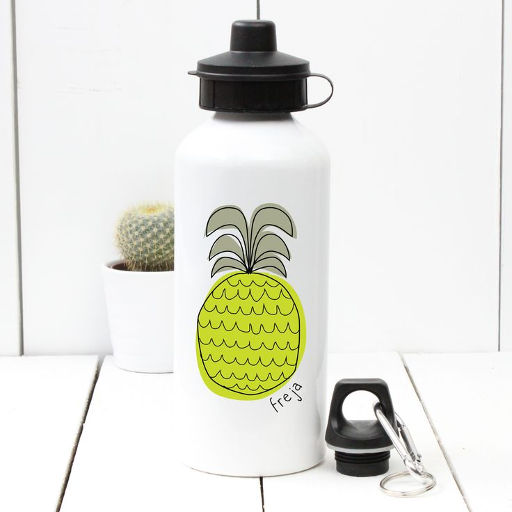 A Piece Of - Personalised 'Pineapple' Water bottle, £13.50. sport, gym, birthday, child, dad, mum, fathers' day, mothers' day, christening, baby shower, bottle, water, drink, present, party, gift, fruit (http://www.apieceof.co.uk/personalised-pineapple-water-bottle/)