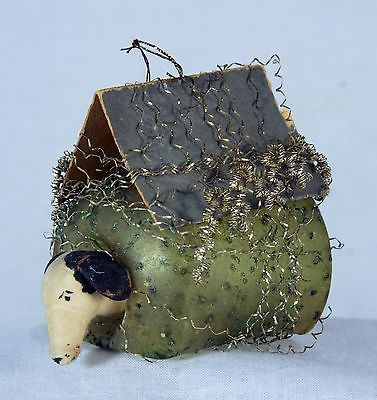 Antique German Victorian Wire Wrapped Dog House with Cotton Dog Ornament c1900