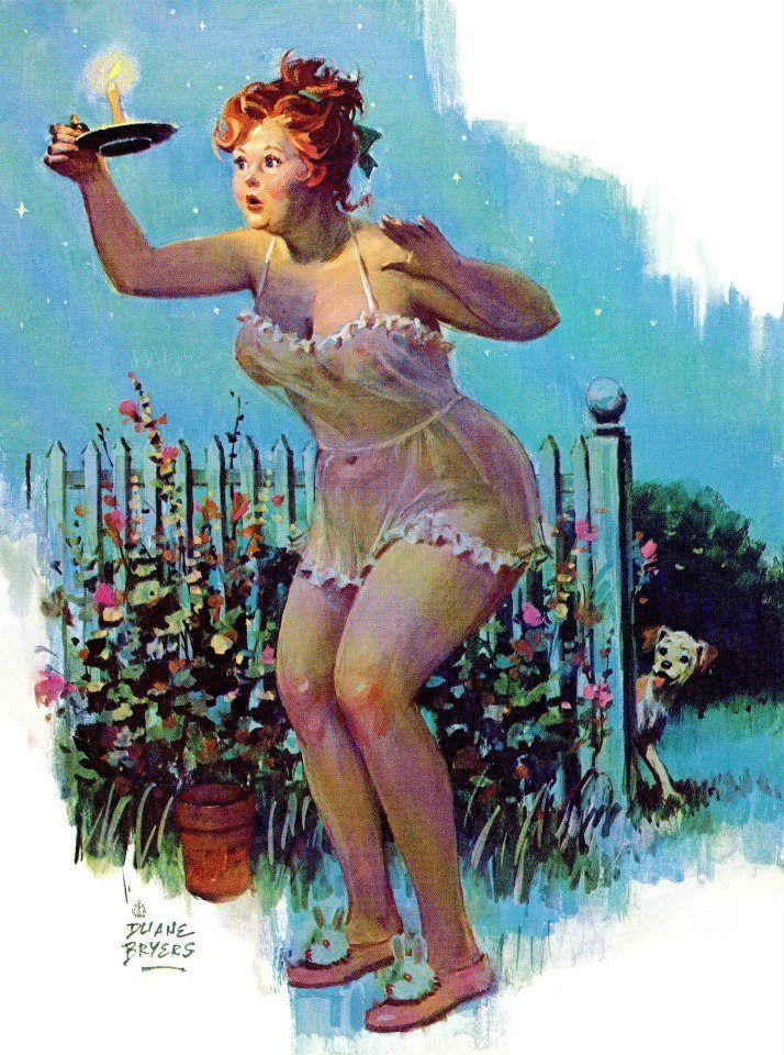 Hilda - with candle at night, in garden