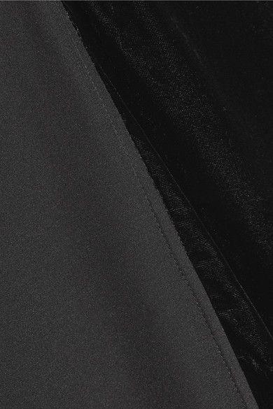 By Malene Birger - Nabras Silk Crepe De Chine And Velvet Dress - Black