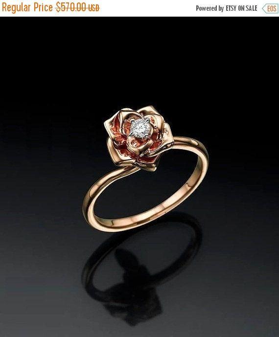 ON SALE Flower Engagement Ring, Rose Ring, Flower Ring Rose 14K Gold, Anniversary Gift For Her, Custom, Solitaire Engagement Ring, 0.10 cara by ybsoulj on Etsy https://www.etsy.com/listing/239177052/on-sale-flower-engagement-ring-rose-ring