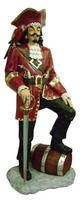 Captain Morgan Statue, Pirate Captain with Barrel Statue Life Size 6FT