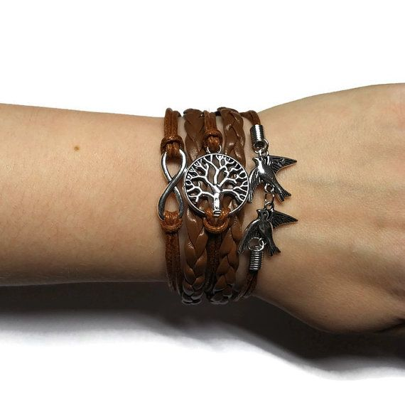 Bird Bracelet Infinity Bracelet Tree of Life by BriAndAshStore