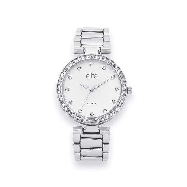 Elite Ladies Silver Tone Watch