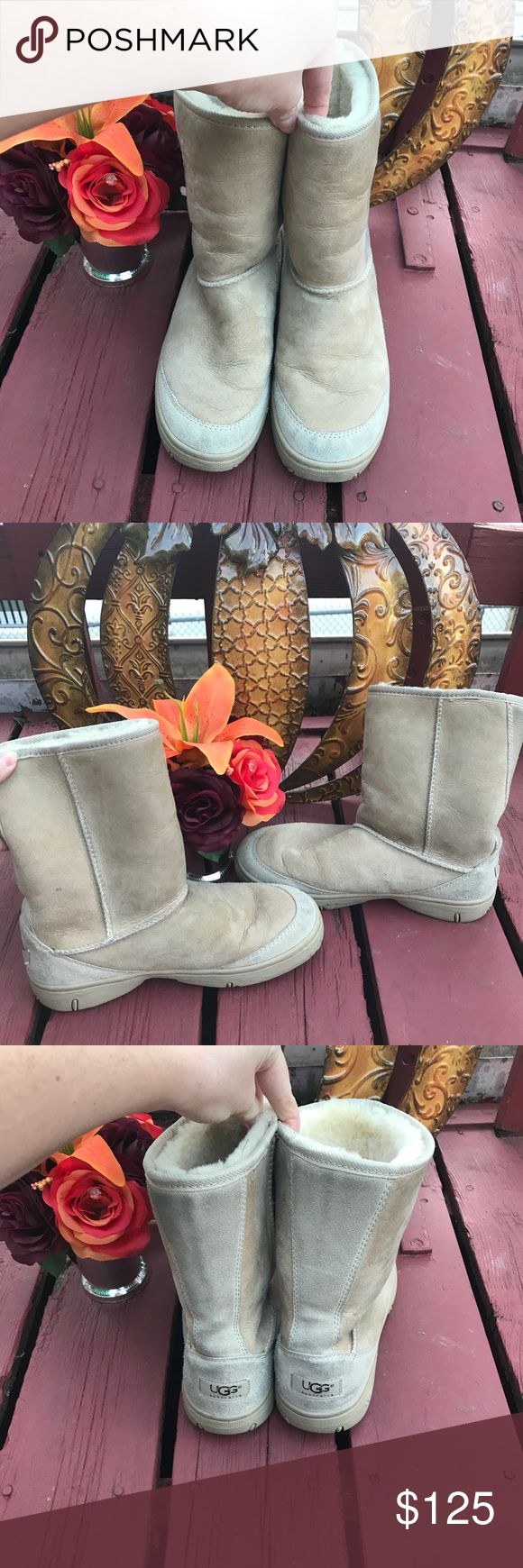"ORIGINAL Tan UGGs These boots look different because they ARE different. The ""original"" style UGGs size 8 in EUC. I will include extra sheepskin inserts with these (worth $28). Doesn't everybody want to be ""original""?! 😃 UGG Shoes"