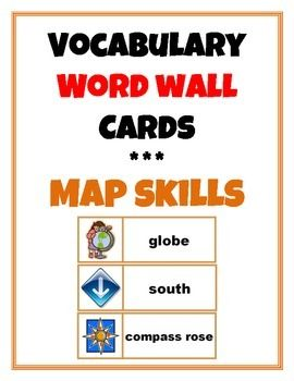 Word Wall Vocabulary Cards: Map Skills - TpT #wordwall #vocabulary #mapskills