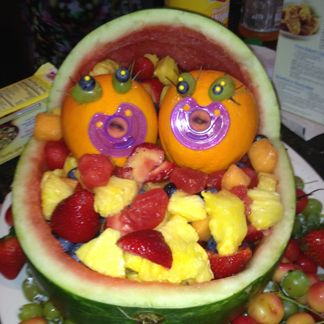 Twin baby shower fruit platter fruit platters for Baby shower fruit decoration ideas