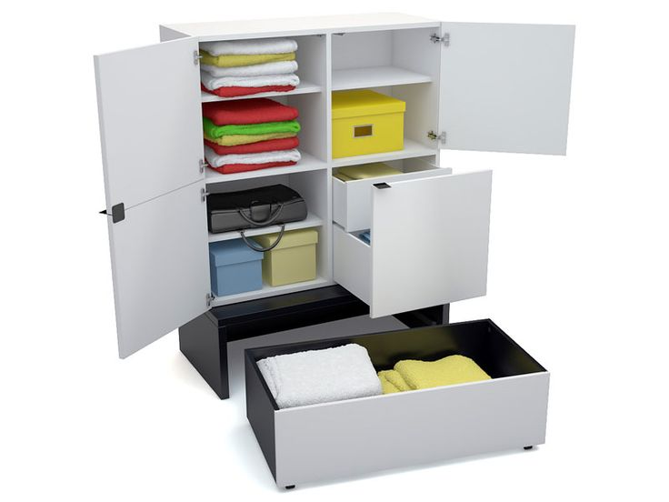 Voelkel Young Users Collection, Wide Storage Unit With Double Deep Platform and Drawer. Storage capacity is significant due to the platforms with drawer/boxes on castors on which modular units are placed.