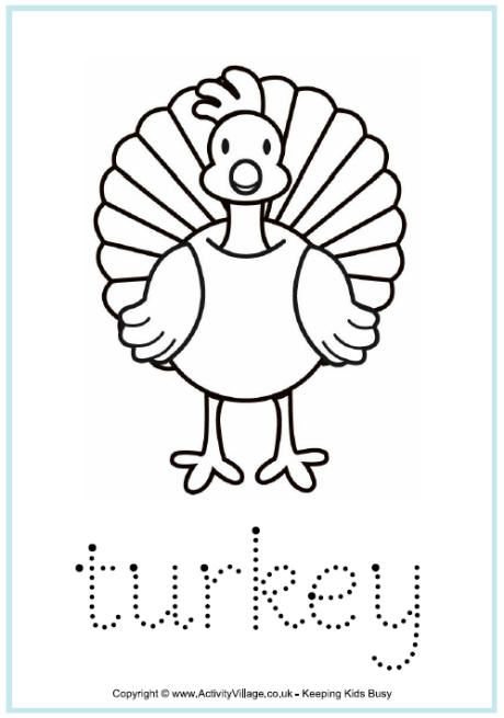 Turkey Word Tracing Turkey Coloring Pages Thanksgiving