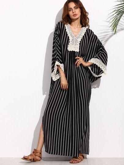 Robe longue rayee noire et blanc