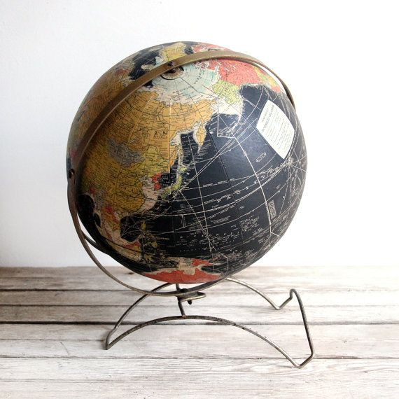 vintage midcentury black rand mcnally globe by lacklusterco