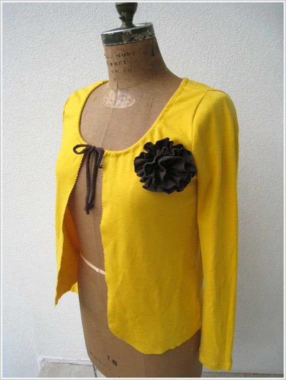 Mustard Yellow T Shirt Cardigan / Drawstring Front / Tee by ohzie: Design Recycled, Recycled Tees, Recycled T Shirts Ideas, Crafts Ideas, Long Sleeve, Recycled Sewing, Sewing Ideas, Shirts Cardigans, Homemade T Shirts Ideas