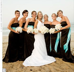 Black and teal bridesmaids dresses