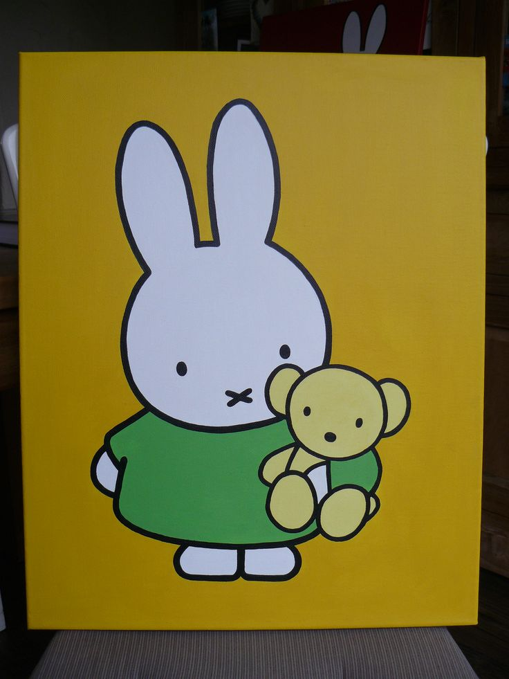 Schilderdoek van Nijntje. Leuk voor de kinderkamer of babykamer. Zie ook mijn Facebookpagina: www.facebook.com/...