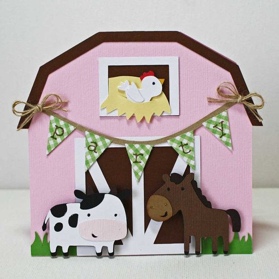 Farm Birthday Invitations / Pink barn card / farm animals party / cow and horse / set of 18