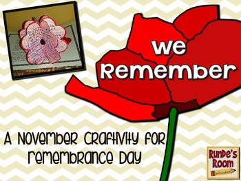 Poppy Craftivity for Remembrance Day or Veterans Day - two different versions - one with general questions, and one with a copy of In Flanders Fields and questions about the poem. $