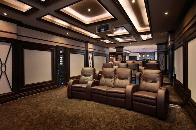 Comfy transitional home theater with home theater component rack architecture