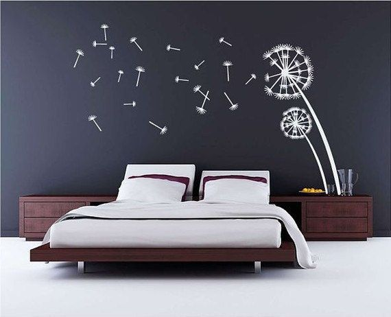 wall decal stcker decals decor bedroom bed room vinyl romoveralble-blossom Dandelion tree headboard Dandelions seeds home c838 on Etsy, $35.00