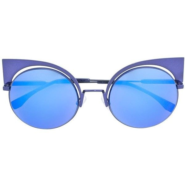 Fendi Eyeshine sunglasses ($630) ❤ liked on Polyvore featuring accessories, eyewear, sunglasses, blue, fendi eyewear, fendi, fendi sunglasses, blue cat eye sunglasses and gradient lens sunglasses