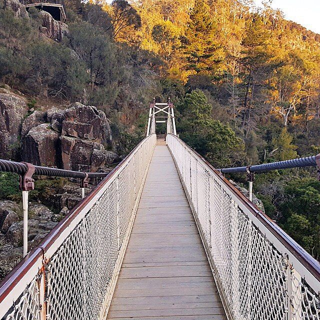 Cataract Gorge suspension bridge. Launceston, Tasmania.  Walked across this many years ago..