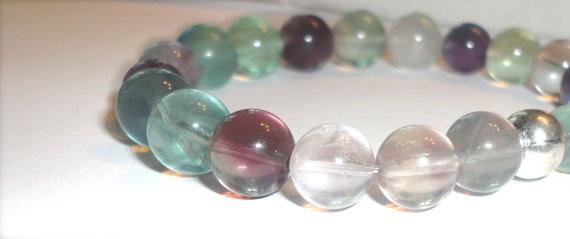Stretchy Fluorite Bracelet  Yoga  Mala  Gemstone  by Willowette, $34.00
