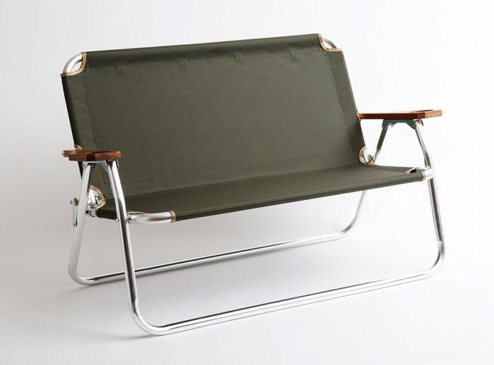 Ecdysis Bench(オリーブ・ブルー) W1090 D560 H665mm(収納時 W1090 H640 D85mm) ¥23,000 Peregrine Furniture