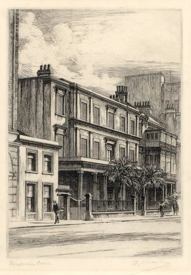 """Burdekin House, Macquarie Street, Sydney c1930. Etching, titled and signed """"G. Marler"""". The beautiful house captured the popular imagination, but that didn't save it. Its demolition did bring about the start of a movement in Australia to save our historical buildings."""