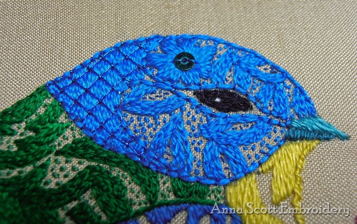 'Blue Birds and berries' silk embroidery (design by Nicola Jarvis)