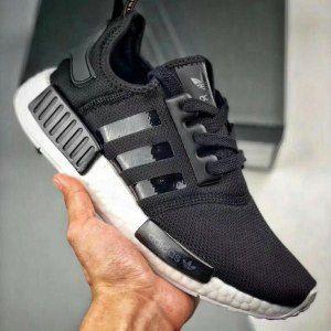 c4bffdf025960 Mens Womens Adidas Originals NMD R1 Primeknit White Black Running Shoes