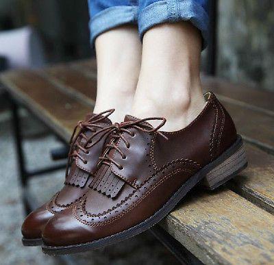Vintage Womens Shoes Classics Lace Up Dress Oxfords Low Flats Heels tassels