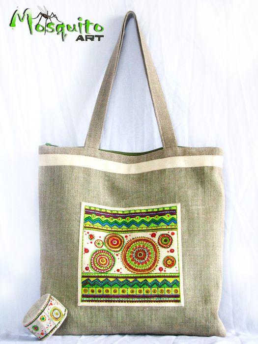 Этно-сумка BeGreen, авторская работа Mosquito-Fluro-ART