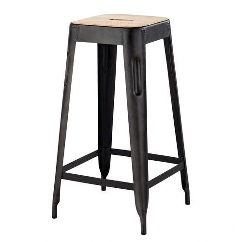 Mango wood and metal industrial bar stool