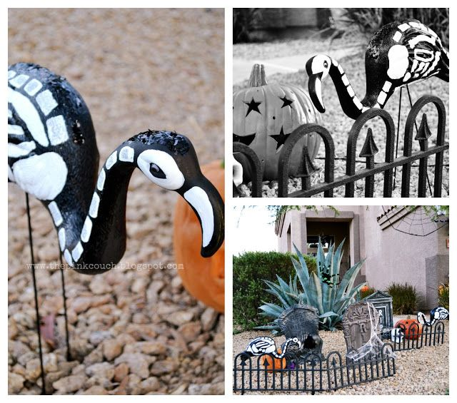 Boo -Black painted flamingos hanging out in a graveyard.