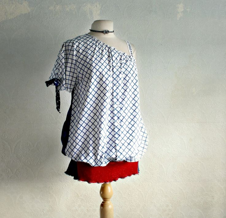Nautical White Cotton Blouse One Shoulder Top Blue Red Upcycled Clothing Women's Shirt L/XL