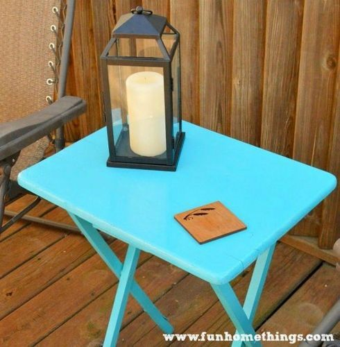s why old tv trays are the new mason jars 11 reasons , painted furniture finishes, repurposing upcycling, Give it an outdoor makeover
