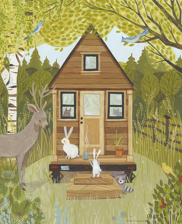 Illustration for an article about author and tiny house dweller, Tammy Strobel.