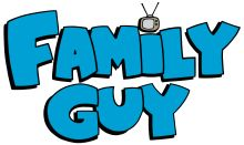 "The Family Guy logo: bold blue letters in all caps spelling out ""Family Guy"" with a small cartoon antenna television used to dot the ""i"" in ""Family"""