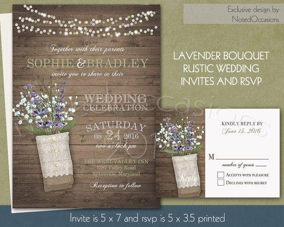Purple Rustic Wedding Invitations: Rustic Wedding Invitation Printable Lavender Bouquet And