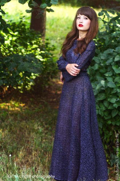 Платья в пол синее в горох