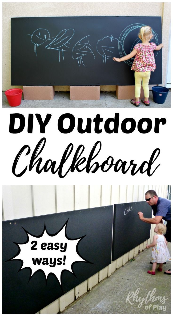 Make your own DIY outdoor chalkboard for backyards and patios 2 easy ways! Vertical chalkboards are fun backyard play spaces for kids that can be used for chalk art projects and literacy activities. Learn how to make your own using the easy to follow tutorials!