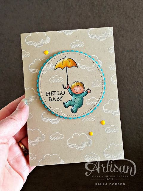 Paula Dobson - Stampinantics: HELLO MOON BABY! Using Stampin' Up!'s new watercolor pencils on Crumb Cake card.  Click on the picture to see more of Paula's projects #pauladobson #stampinantics #suwatercolorpencils #moonbaby #liftmeup