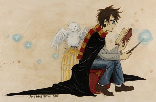 'Harry Potter and Hedwig' by Amy Kim Kibuishi (from 40 Beautiful Harry Potter Art and Illustration Tributes)