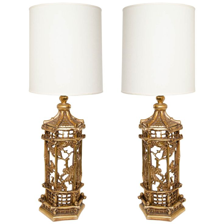 Pair Of Exceptional Gilt Chinoiserie Lamps In The Manner Of James Mont. Lamp  IdeasModern Table ...