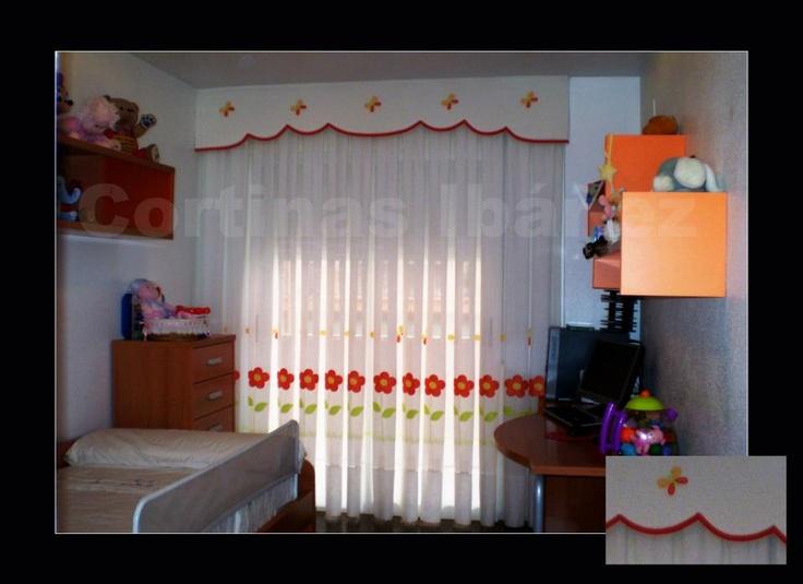 Cortina infantil de visillo bordado y confeccionado a - Bandos para cortinas ...